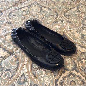 Tory Burch Reva Black Patent Leather Women's Sz 8